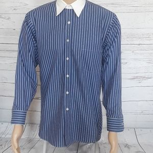 GEOFFREY BEENE: Blue/White Pinstriped Dress Shirt
